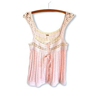 🍋 Free People Crochet Cable Knit Macrame Tank Top